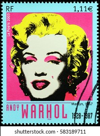 LUGA, RUSSIA - FEBRUARY 7, 2017: A stamp printed by FRANCE shows famous painting by American artist Andy Warhol - Marilyn, 1967 (portrait of Marilyn Monroe), circa 2003