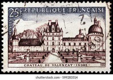 LUGA, RUSSIA - FEBRUARY 7, 2017: A stamp printed by FRANCE shows beautiful view of Chateau de Valencay in the commune of Valencay, the Indre department of France, circa 1957