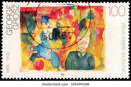 LUGA, RUSSIA - FEBRUARY 8, 2018: A stamp printed by GERMANY shows painting Cafe by George Grosz - a German artist known especially for his caricatural drawings, circa 1993