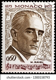 LUGA, RUSSIA - JANUARY 22, 2019:  A stamp printed by MONACO shows image portrait of famous French composer, pianist and conductor Joseph Maurice Ravel, circa 1975.