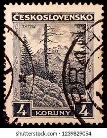 LUGA, RUSSIA - JANUARY 23, 2018: A stamp printed by CZECHOSLOVAKIA shows beautiful view of Tatra Mountains, circa 1929
