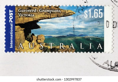 LUGA, RUSSIA - JANUARY 24, 2019: A stamp printed by AUSTRALIA shows view of The Grampians National Park (Gariwerd) - national park in the Grampians region of Victoria, Australia, circa 2002.