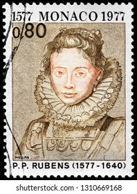 LUGA, RUSSIA - JANUARY 24, 2019: A stamp printed by MONACO shows image portrait of Maid of Archduchess Isabella by famous Flemish artist Sir Peter Paul Rubens, circa 1977.