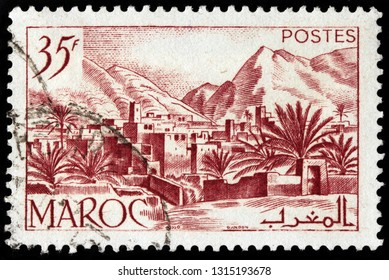 LUGA, RUSSIA - JANUARY 24, 2019: A stamp printed by MOROCCO shows view of Todra Valley in the eastern part of the High Atlas Mountains, circa 1950.