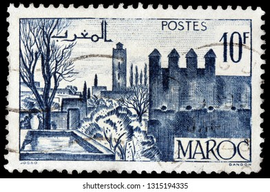LUGA, RUSSIA - JANUARY 24, 2019: A stamp printed by MOROCCO shows view of Fez - the second largest city in Morocco, circa 1948