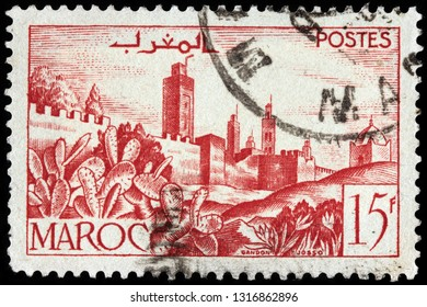 LUGA, RUSSIA - JANUARY 24, 2019: A stamp printed by MOROCCO shows view of ancient walled town, circa 1949