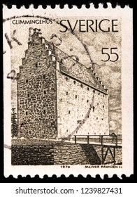 LUGA, RUSSIA - JANUARY 31, 2018: A stamp printed by SWEDEN shows view of the Glimmingehus castle located in Simrishamn Municipality, Scania, in southern Sweden, circa 1970