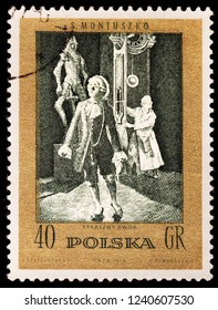 LUGA, RUSSIA - JANUARY 31, 2018: A stamp printed by POLAND shows scene from Polish composer Stanislaw Moniuszko opera The Haunted Manor, circa 1972