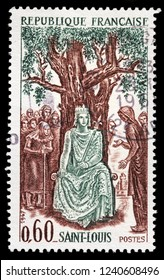 LUGA, RUSSIA - JANUARY 31, 2018: A stamp printed by FRANCE shows Louis IX King of France commonly known as Saint Louis. He is canonized as a Catholic and Anglican Saint, circa 1967