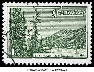LUGA, RUSSIA - JUNE 07, 2018: A stamp printed by RUSSIA (USSR) shows view of the Khibiny (Khibinsky)  Mountains - mountain range of Kola (Kolsky) Peninsula, northern Russia, circa 1959