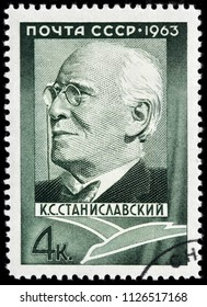 LUGA, RUSSIA - JUNE 07, 2018: A stamp printed by RUSSIA (USSR) shows image portrait of seminal Russian theatre practitioner Konstantin Sergeievich Stanislavski, circa 1963