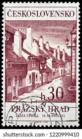 LUGA, RUSSIA - JUNE 6, 2018: A stamp printed by CZECHOSLOVAKIA shows beautiful view of Golden Lane - a street situated in Prague Castle, Czech Republic, circa 1968