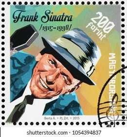 LUGA, RUSSIA - MARCH 17, 2018: A stamp printed by HUNGARY shows image portrait of famous  American singer, actor, and producer Francis Albert Sinatra, circa 2015