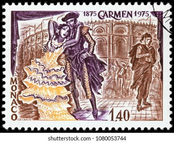 LUGA, RUSSIA - MARCH 17, 2018: A stamp printed by MONACO shows scene from Georges Bizet opera Carmen (opera is based on a novella of the same title by Prosper Merimee), circa 1975.