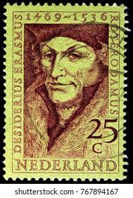 LUGA, RUSSIA - NOVEMBER 06, 2017: A stamp printed by NETHERLANDS shows Desiderius Erasmus Roterodamus, known as Erasmus or Erasmus of Rotterdam, circa 1962
