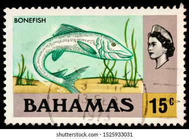 LUGA, RUSSIA - OCTOBER 05, 2019: A stamp printed by BAHAMAS shows Bonefish (Albula vulpes), circa 1971.