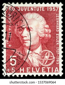 LUGA, RUSSIA - OCTOBER 15, 2019: A stamp printed by SWITZERLAND shows Swiss physicist, mathematician, astronomer, geographer, logician and engineer Leonhard Euler, circa 1957