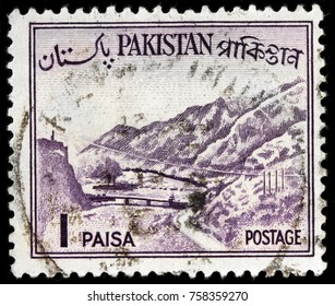 LUGA, RUSSIA - OCTOBER 17, 2017: A stamp printed by PAKISTAN shows view of The Khyber Pass - a mountain pass connecting the town of Landi Kotal and Pakistan border, circa 1961