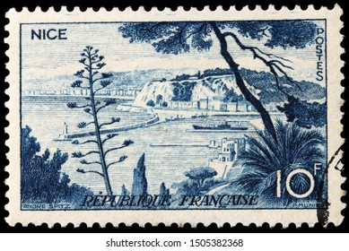 LUGA, RUSSIA - SEPTEMBER 02, 2019: A stamp printed by FRANCE shows Nice urban area located in the French Riviera, on the south east coast of France on the Mediterranean Sea, circa 1955