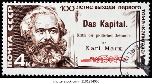 LUGA, RUSSIA - SEPTEMBER 12, 2018: A stamp printed by RUSSIA (USSR) shows Karl Marx - German philosopher, economist, political theorist, sociologist, revolutionary socialist, circa 1967