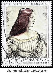 LUGA, RUSSIA - SEPTEMBER 12, 2018: A stamp printed by FRANCE shows portrait of Isabelle d'Este Marchesa of Mantua by Italian polymath of Renaissance Leonardo da Vinci, circa 1986