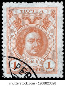 LUGA, RUSSIA - SEPTEMBER 12, 2018: A stamp printed by RUSSIA shows Peter the Great or Peter I ruled the Tsardom of Russia and later the Russian Empire, circa 1913