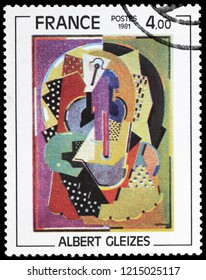 LUGA, RUSSIA - SEPTEMBER 12, 2018: A stamp printed by FRANCE shows painting Horsewoman by famous French artist, philosopher and founder of Cubism Albert Gleizes, circa 1981