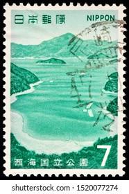LUGA, RUSSIA - SEPTEMBER 20, 2019: A stamp printed by JAPAN shows beautiful view of Goto Wakamatsu Seto Region, Saikai, Nagasaki Prefecture, circa 1971.