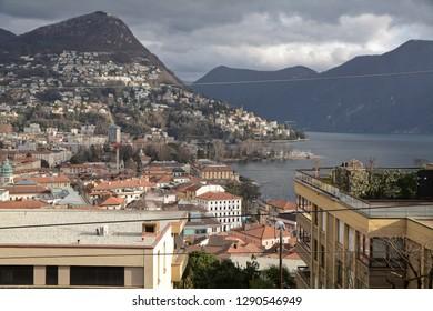 Lugano, Canton Ticino / Switzerland - January 17 2019: Cityscape of Lugano.