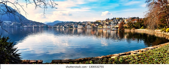 Lugano city on Lake Lugano in the Swiss canton of Ticino, Switzerland. It is located at the  foot of the Swiss Alps.