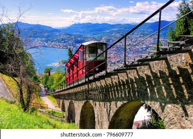 Lugano funicular to the Monte Bre and Lake Lugano, Switzerland