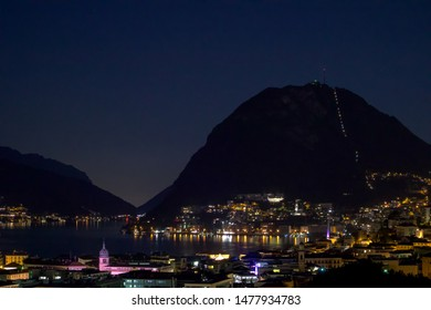 Lugano Lake by night. Lake Lugano (Lago di Lugano), Ticino canton, Switzerland