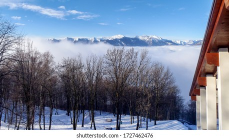 Lugano, Monte Bré: Panorama mit Nebel im Tal unten.