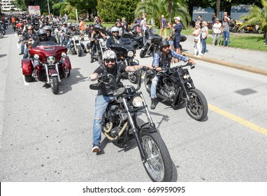 Lugano, Switzerland - 1 July 2017: Bykers of the parade at the Swiss Harley Days in Lugano on Switzerland