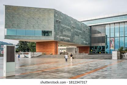 Lugano Switzerland , 1 July 2020 : Exterior view of LAC Lugano Arte e Cultura building a cultural centre in Lugano Ticino Switzerland