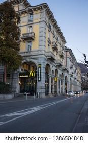 Lugano, Switzerland - 10 January 2019: Mac Donalds restaurant at the boulevard along the lake of Lugano