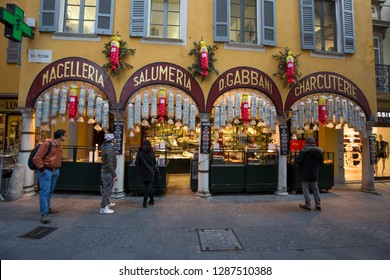 Lugano, Switzerland - 10 January 2019: Meat shop in the city centre of Lugano