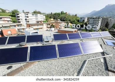 Lugano, Switzerland - 11 april 2011: Solar panels technology for renewable energy