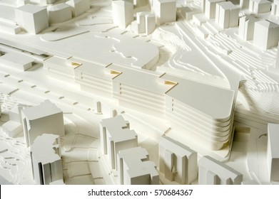 Lugano, Switzerland - 11 June 2013: Site surrounding model for architectural presentation of the area near the railway station of Lugano on Switzerland
