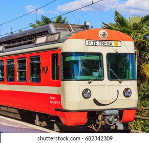 Lugano, Switzerland - 12 October, 2016: the locomotive of a train to Ponte Tresa at a platform of the railway station in the city of Lugano. Ponte Tresa is a town in the Swiss canton of Ticino.