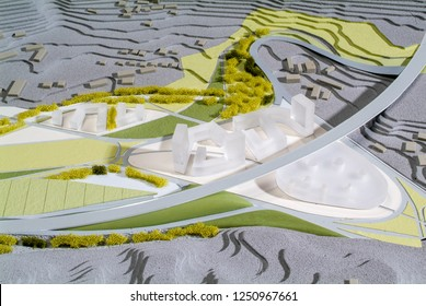 Lugano, Switzerland - 15 June 2008: Site surrounding model for architectural presentation and background