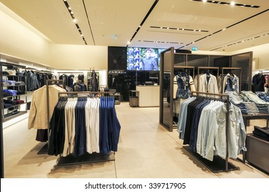 c2f3da61 Lugano, Switzerland - 17 July 2014: interior of Zara fashion clothes store  on the