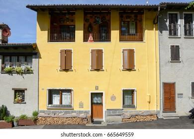 Lugano, Switzerland - 18 June 2017: Rural house at the village of Sorengo on Switzerland