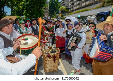 Lugano, Switzerland - 19 June 2017: musical parade for the wine festival at Lugano on Switzerland