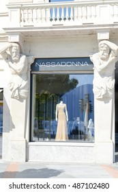 Lugano, Switzerland - 25 august 2016: showcases of Nassadonna fashion clothes store at Lugano on Switzerland