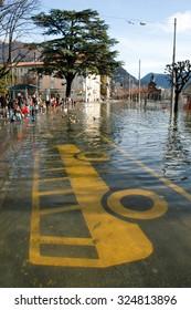Lugano, Switzerland - 30 november 2002: The inundation of lake Lugano on Switzerland