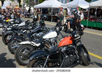 Lugano, Switzerland - 4 July 2015: Bykers of the parade to the Swiss Harley Days at Lugano on Switzerland on Switzerland