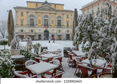 Lugano, Switzerland - 5 March 2016 - main square of Riforma with town hall on snow at Lugano in Switzerland