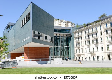 Lugano, Switzerland - 5 may 2016:  People visiting on walking the court of LAC museum at Lugano on the italian part of Switzerland