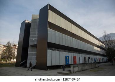 Lugano, Switzerland - 8 January 2019: Informatics Building, University of Lugano